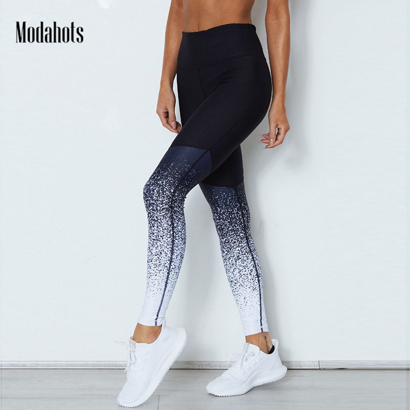 2018 Fashion New Design Gradient Printing Women Fitness Push Up Stretch Elastic Slim Leggings Legins Pants Trousers