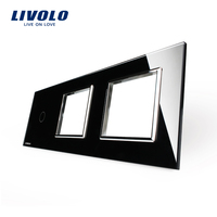 Free Shipping Livolo Luxury Black Crystal Glass 223mm 80mm EU Standard 1Gang 2 Frame Glass Panel