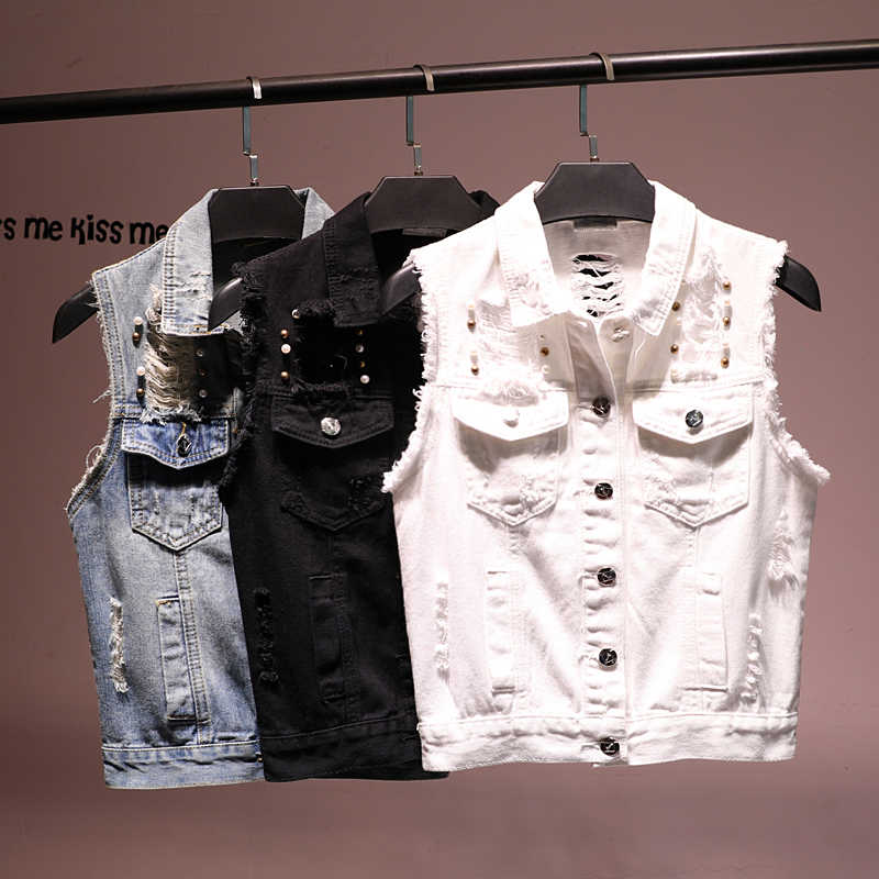 Branco preto buraco rebite denim colete jeans feminino 2019 novo verão curto fino sem mangas jaqueta feminina coreano veste femme