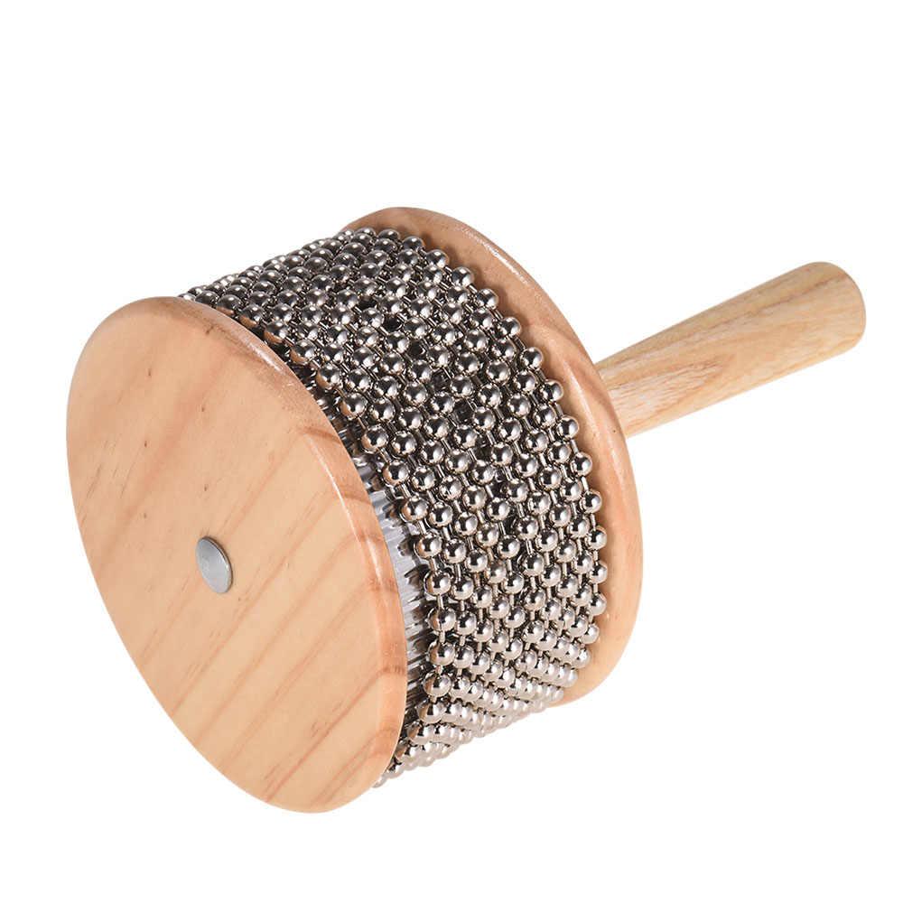 ไม้ Cabasa เครื่องดนตรีโลหะลูกปัดและกระบอก Pop Hand Shaker สำหรับห้องเรียน Band ขนาดกลาง