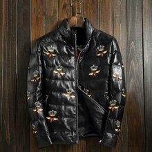 Men's Genuine Leather Down Jacket Sheepskin Fashion Embroidery Flowers Slim Short Section Casual Coat Mandarin Collar  GSJ242