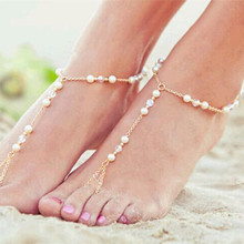 Hot New fashion female gorgeous crystal pearl Anklets for women Girl Party Anklet Jewelry Wholesale Free Shipping