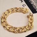 """Grande 20 cm de comprimento único curb cadeia cubano para homens sólidos amarelo banhado a ouro grosso pulseira cadeia 7.87 """"16mm 36 gramas"""
