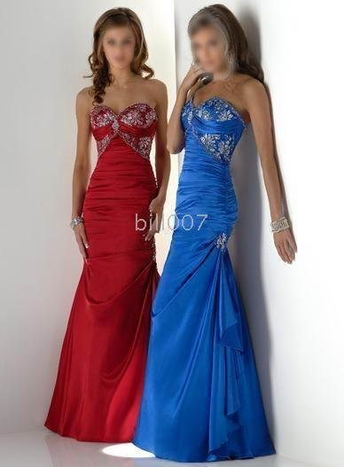 A-line floor-length (red gown or sapphire blue) wedding gowns for bride  Informal Wedding Dresses b38b0986743c