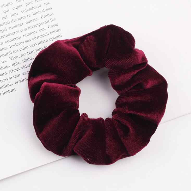 1 PC Black Wine Red White Hair Scrunchies Ring Elastic Hair Bands For Women Girls Solid Velvet Ponytail Holder Hair Accessories