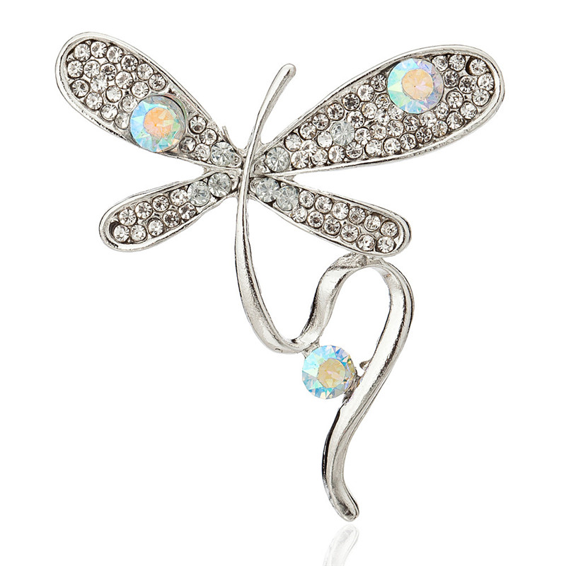 Crystal Dragonfly Brooches for Women Gold Silver Color Animal