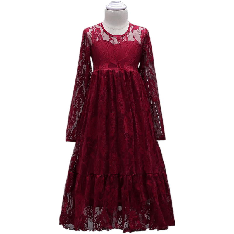 Lace Dresses For Girls Party Wear Long Sleeve Dresses 4 to 15 Years Flower Girls Princess Dress Pageant Ruffles Tulle 12 Years hayden girls boho ethnic dress designs teenage girls national embroidered dresses flare sleeve loose fit dress for 7 to 14 years