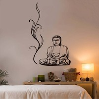 High Quality Buddha Wall Stickers Yoga Pose Meditation Relax Floral Wall Decals DIY Removable Home Decor