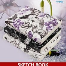 19cmX25.6cm , B5 Vintage Bird Flower Sketch book , White Blank Inside Page Sketchbook