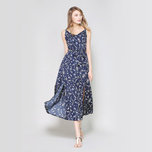 2019 Summer Spaghetti Strap Women Dress Party Night Floral Print Sleeveless Long Bohemian Dress Blue bohemian strapless sleeveless floral print women s dress
