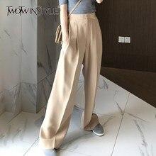 TWOTWINSTYLE מכנסיים לנשים גבוהה מותן סיבתי Loose רחב רגל מכנסיים נקבה 2020 סתיו קוריאני אופנה אלגנטי גאות