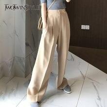 TWOTWINSTYLE-pantalones de pierna ancha para mujer, pantalón informal, holgado, de cintura alta, moda coreana, tendencia elegante, Otoño, 2020