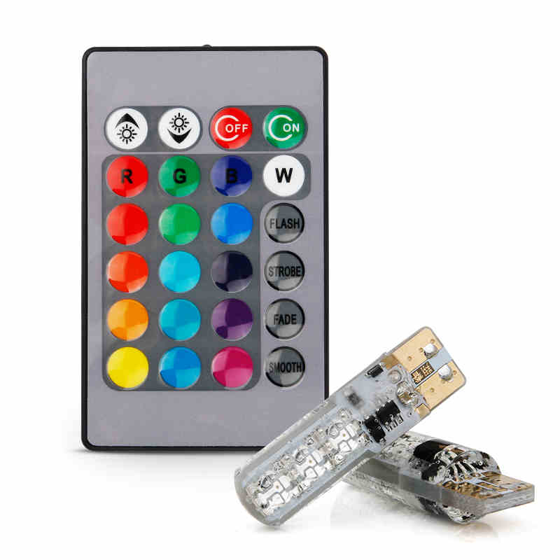 KAMMURI T10 W5W SMD 6LED Remote Control RGB Car Reading Wedge Lights For Car Tail Light Side Parking Door Lighting FISHBERG