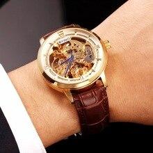 Mens Mécanique Automatique Montres Top Marque De Luxe Bande de Cuir Véritable Montre-Bracelet Mâle D'affaires Squelette Montre Horloges Montre Homme