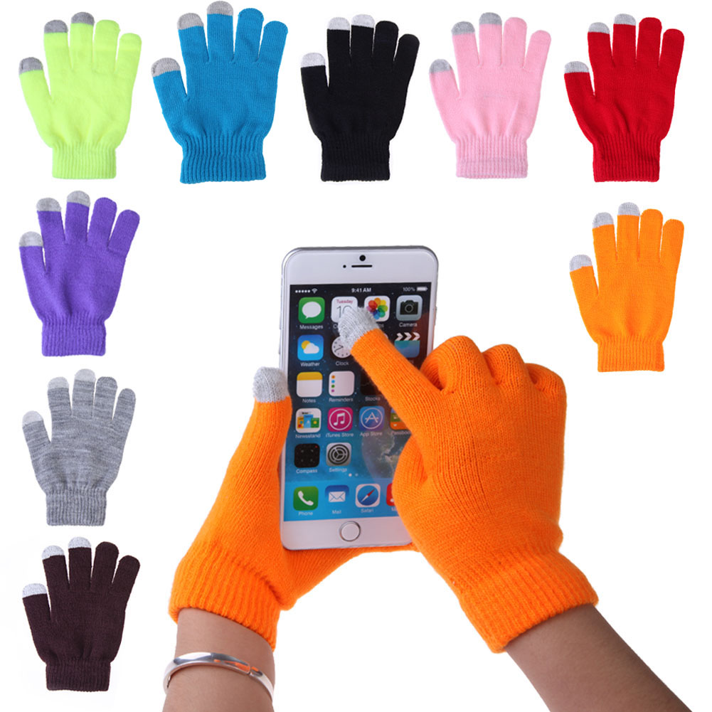 Soft Cotton Touch Screen Gloves Ladies Women Men Winter Warm Wrist Gloves For Mobile Phone Tablet bluetooth wireless sport gloves earphones headsets headphones winter warm gloves touch screen handsfree calls mp3 play for phone