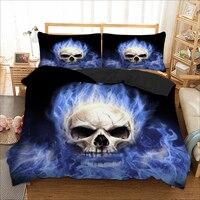 3D Quilt Cover Blue Skull cool duvet cover bedding set single twin full queen king size polyster bedlinen dropship