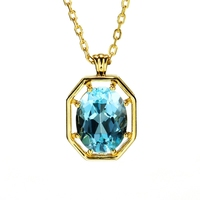 Aquamarine Sapphire Pendants Necklace 14K Gold Necklaces Charms Birthstones Pendant Choker Chains for Women Bijoux brincos