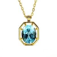 Aquamarine Sapphire Pendants Necklace 14K Gold Necklaces Charms Birthstones Pendant Choker Chains for Women Bijoux brincos