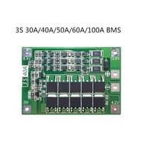 3 s 30a/40a/50a/60a/100a bms 보드  밸런스 포함/18650 리튬 이온 리튬 배터리 보호 보드 용