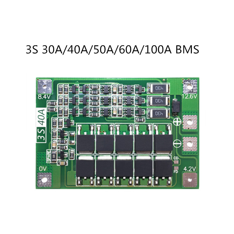 3S 30A/40A/50A/60A/100A BMS Board  With Balance /For 18650 Li-ion Lithium Battery Protection Board