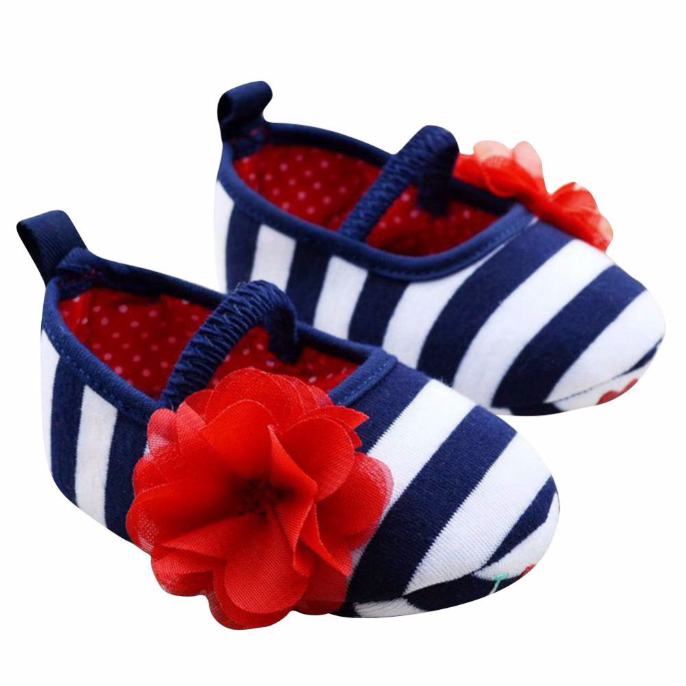 Newborn Baby Girls First Walkers Fashion Striped Flower Crib Shoes Soft Sole Baby Kids Girls Toddler Shoes