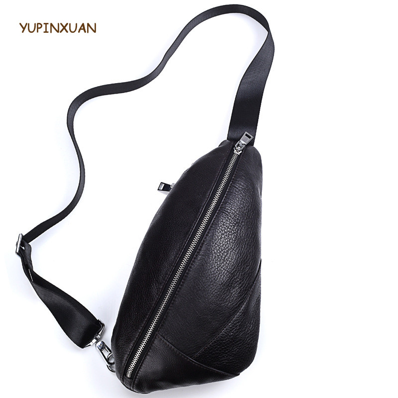 YUPINXUAN Fashion Designer Cow Leather Chest Bags for Men Korea Stylish Sling Phone Bags Black Real Leather Male Bags Russian