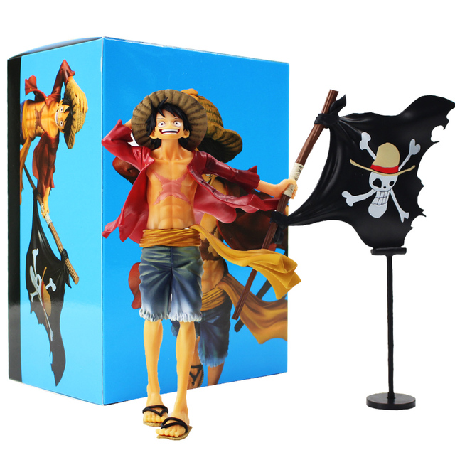 3d060c407 One Piece Figure Toy Monkey D Luffy With Flag Straw Hat Pirates Anime Model  Doll