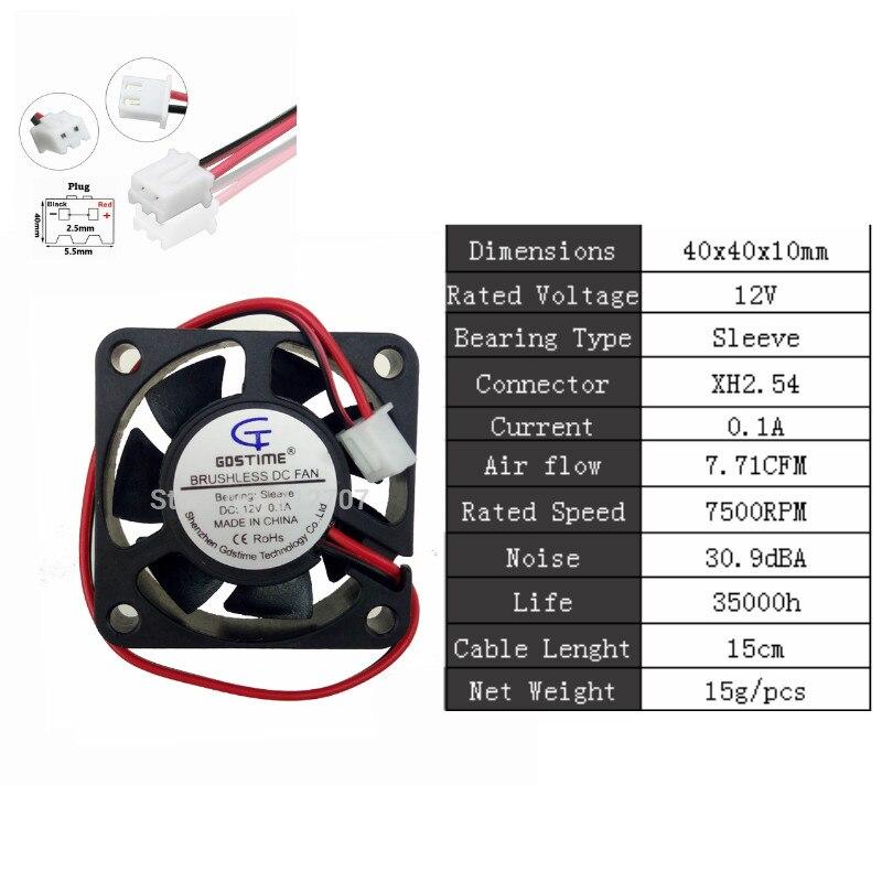 Gdstime 2 шт. 24 в 12 В 5 в 40 мм x 10 мм маленький осевой кулер 4 см 2Pin шарикоподшипник DC бесщеточный вентилятор охлаждения 40x40x10 мм 4010 3Pin - Цвет лезвия: 12V Sleeve 0.1A
