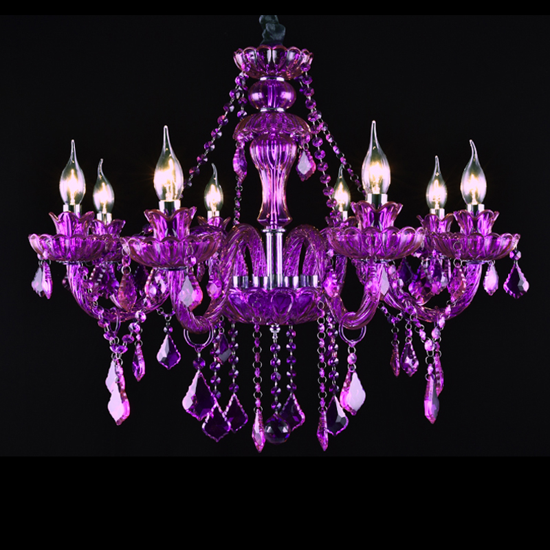 цена на luxury chandelier 8 lights Purple crystal chandeliers Fashion Purple crystal lamp hanging lighting wedding Purple chandelier