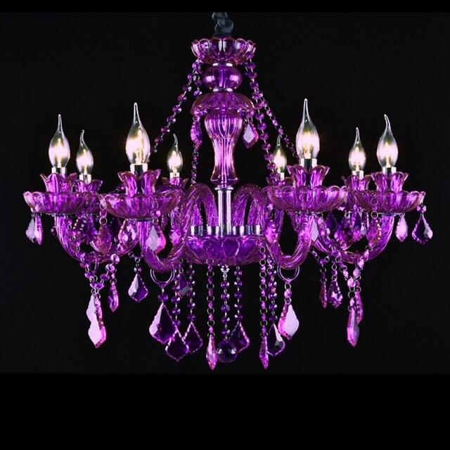 Luxury Chandelier 8 Lights Purple Crystal Chandeliers Fashion Lamp Hanging Lighting Wedding