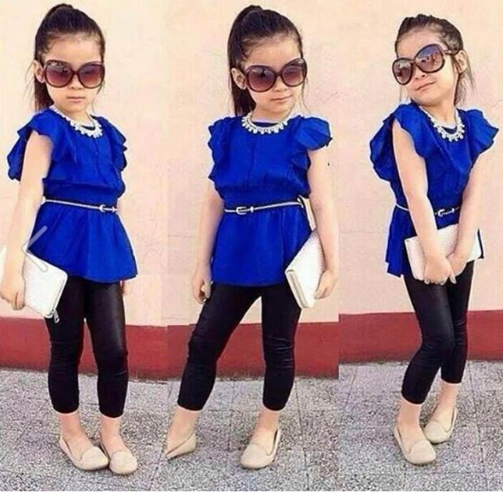 2pcs Blue Spring Kids Baby Girl Dress Top T Shirtpants With Belt Clothes Sets Outfits For 2 7y Girls Clothing Sets Hy075 In Clothing Sets From Mother