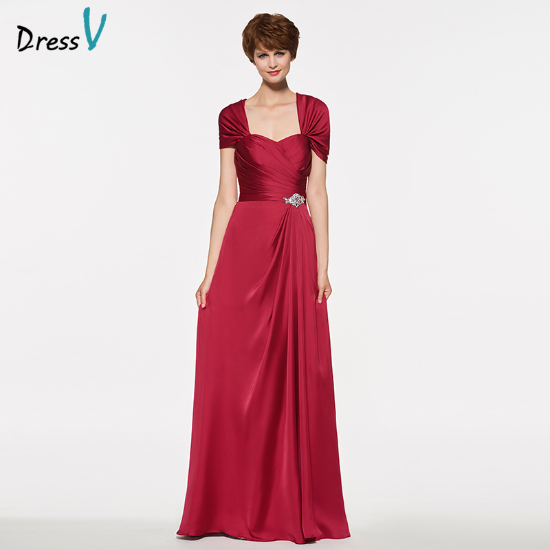 Dressv Elegant Sweetheart Neck A Line Cap Sleeves Mother Of Bride Dress Zipper Up Beading Long Mother Evening Gown Customize