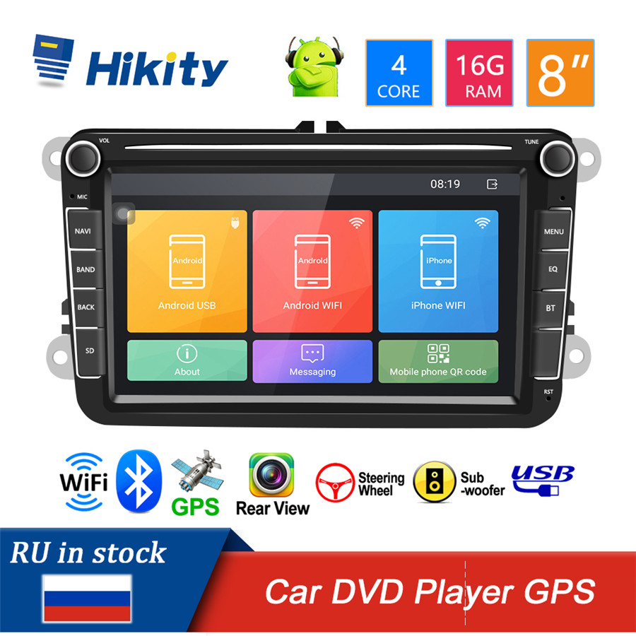 Hikity Android 8.1 2 Din autoradio DVD lecteur vidéo multimédia universel auto stéréo GPS carte pour Volkswagen GOLF 5 Golf 6 POLO