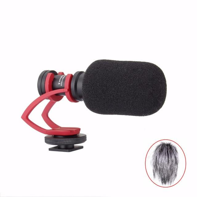 Comica CVM-VM10 II Cardioid Video Microphone for DJI OSMO GoPro Sony Camera Smartphone with Red Shock-Mount Windscreen Wind Muff