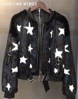 Spring Real Mink Coat Women Fashion Stars Print Short Baseball Jacket Black Casual Style Natural Mink