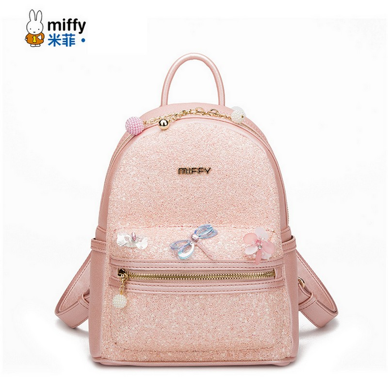 Miffy New Arrival Women All-match Bag PU Leather Sequins Backpack Girls Small Travel Princess Bling Backpacks 2017 new women girl children all match bag pu leather sequins backpack girls small travel princess bling backpacks