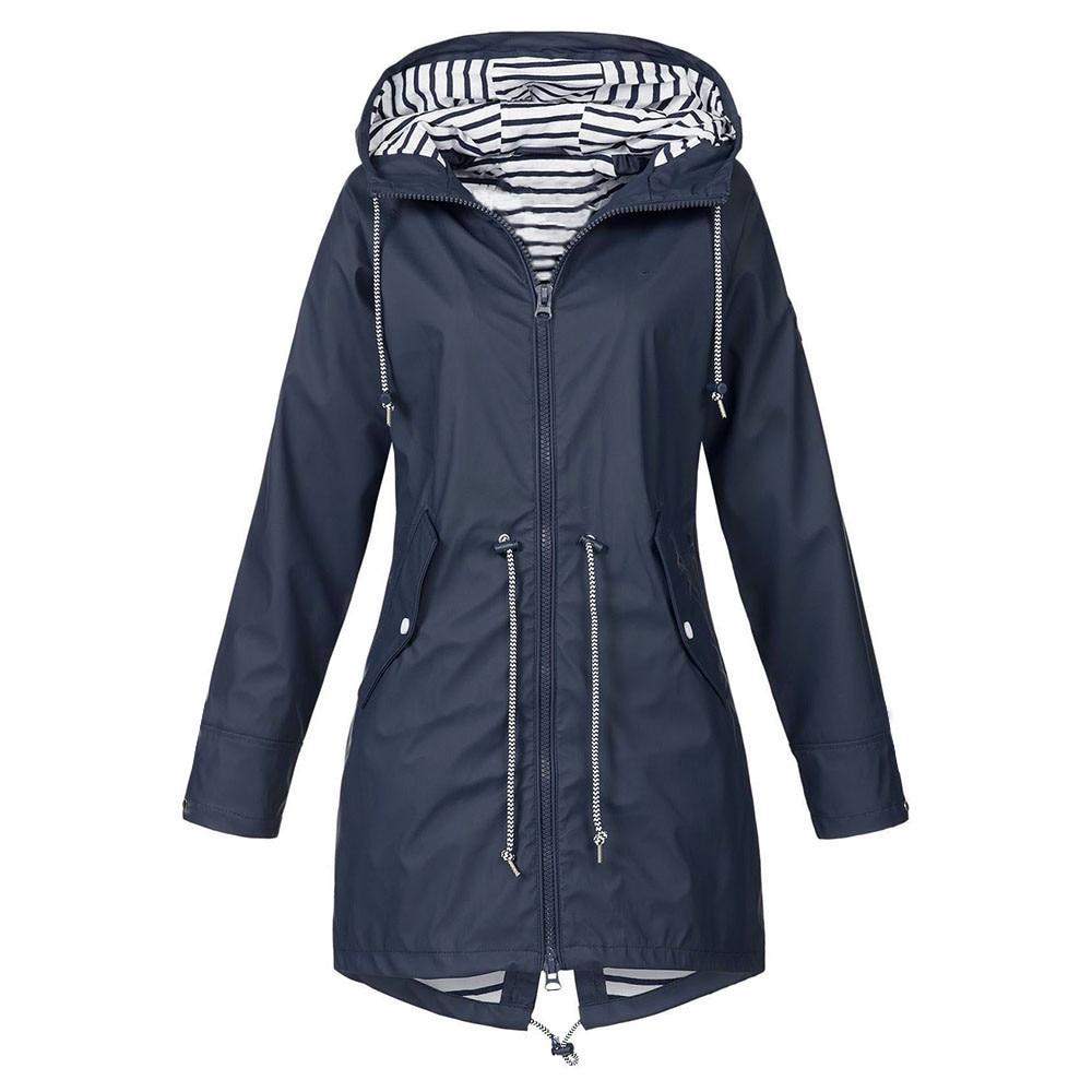 Women's Solid Rain Jacket Outdoor Hoodie Waterproof Long   Coat   Windproof Large size long hooded jacket 2019 free shipping 3.25
