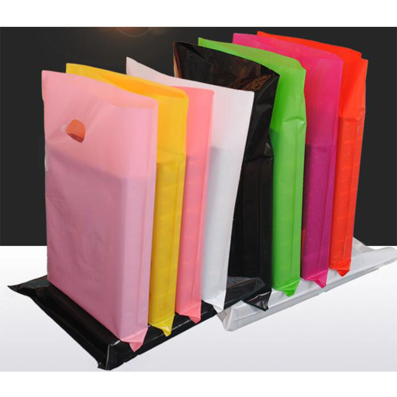 40x50cm 100pcs Large Jewerly Gift Plastic Bags With Handle Logo,Small Black Red Plastic Shopping Bags For Clothing Packaging Bag