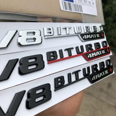 5 sets V8 BITURBO 4matic+ car fender emblem sticker for Mercedes Benz AMG w117 cla45 w205 c63 w212 e63 w207 w176 a45 x156 gla45-in Car Stickers from Automobiles & Motorcycles    2