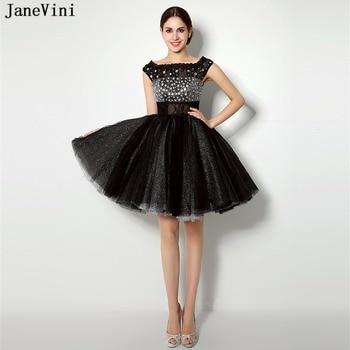 JaneVini 2018 Vintage Black Lace Short Bridesmaid Dresses A Line Crystal Sleeveless Illusion Back Plus Size Princess Party Gowns