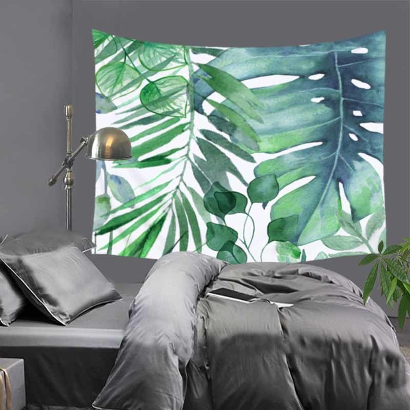 Home Decor Large Wall Hanging Blanket Art Tapestry Bohemian Boho Indian Plant Forest Leaves Flamingo Carpet Tapestry 200x150cm Power Source Batteries