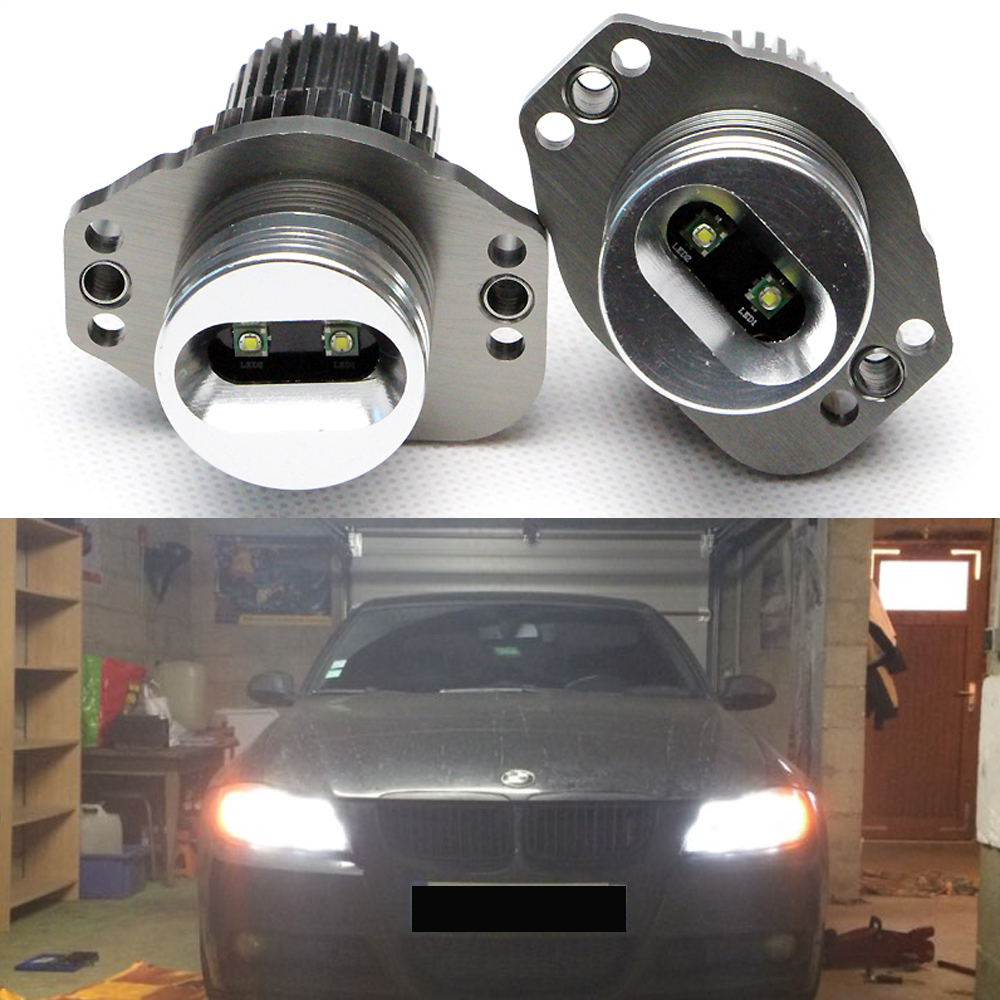 Free shipping 20W 7000k xenon White US Cree chips LED Angel Eyes Headlights for BMW E90 E91 12V Halo light 1pcs black fouriers bicycle single chain ring p c d 104mm 32t 4mm bike chainrings narrow wide teeth