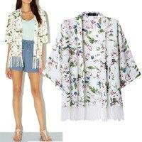 2014 White Woman UK Brand Fashion Chiffon Flower Print Fringe Cardigan Blouse With Lace Tassel 100% TOP QUAILITY FREE SHIPPING