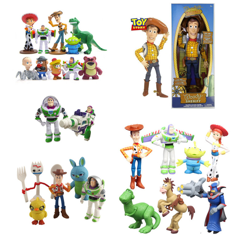 Movie Toy Story 4 Buzz Lightyear Talking Woody Jessie Forky  Action Figure Pvc Collection Model Toy