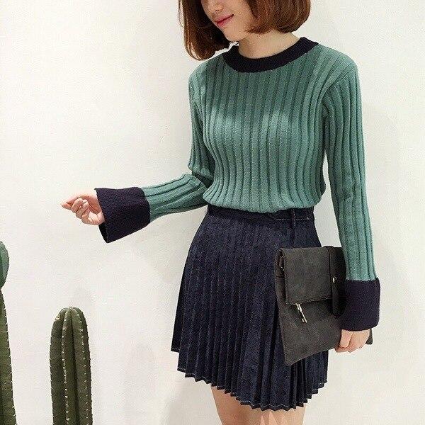 Color a juego volante trompeta mangas tight suéteres de otoño invierno de manga