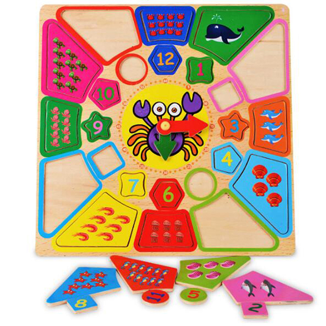 Early Education Cognitive Clocks Wooden Children Disassembling Alarm Clocks Multi-functional Geometry Party Jigsaw Puzzle