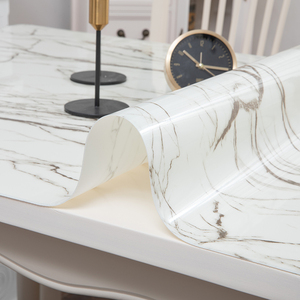Image 4 - Nordic imitation marble tablecloth soft glass PVC waterproof oilproof table mat party wedding table decoration pad custom made