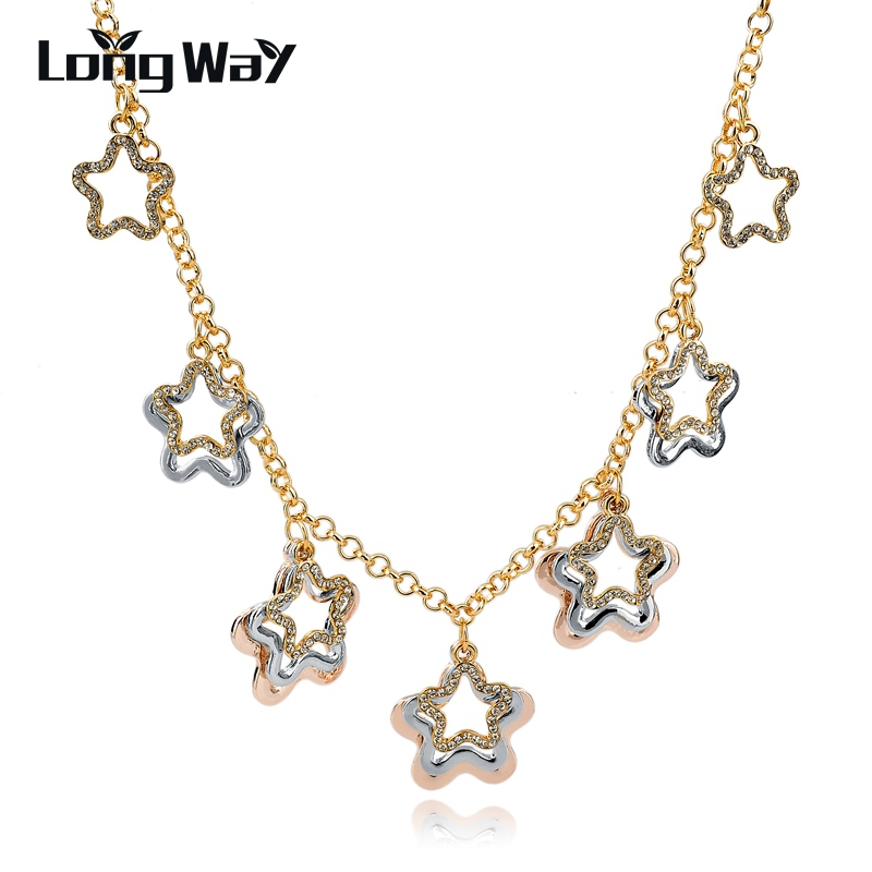 LongWay Vintage Crystal Gems Star Necklaces & Pendants For Women Gold Color Chain Statement Necklace Jewelry Gift Sne150870103