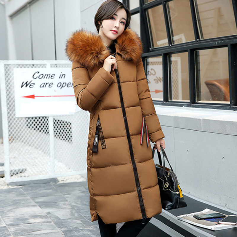 Fur Hooded Thicken Warm Slim Long   Down     Coat   Women Solid Long Sleeve Zipper Pockets Outwears Ladies Hardy   Down   Jackets Winter New