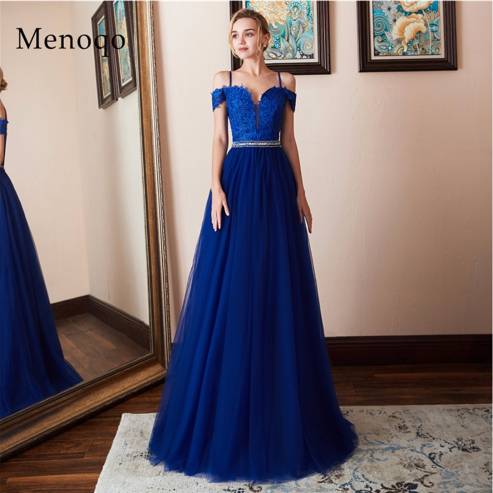 Sexy off the Shoulder Long Prom Dresses Robe De Soiree Appliques Beaded Tulle Evening Party Dress